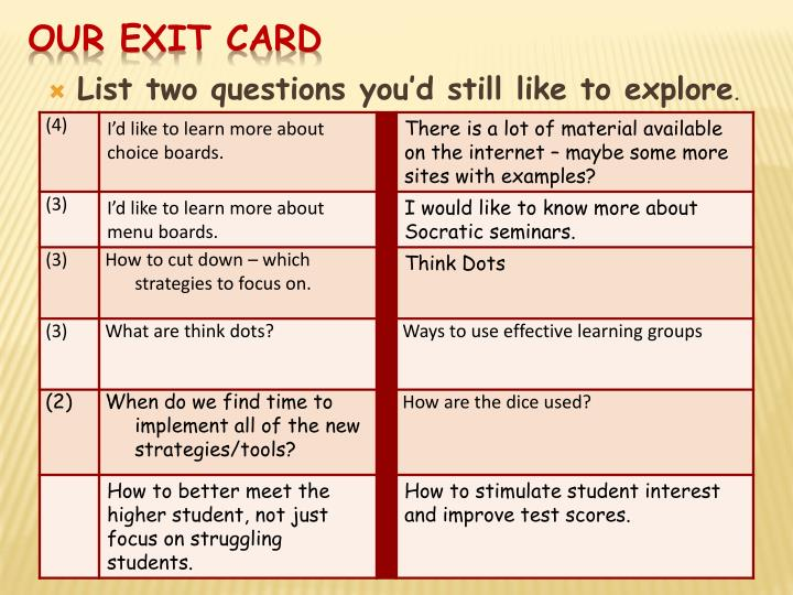 Our Exit Card