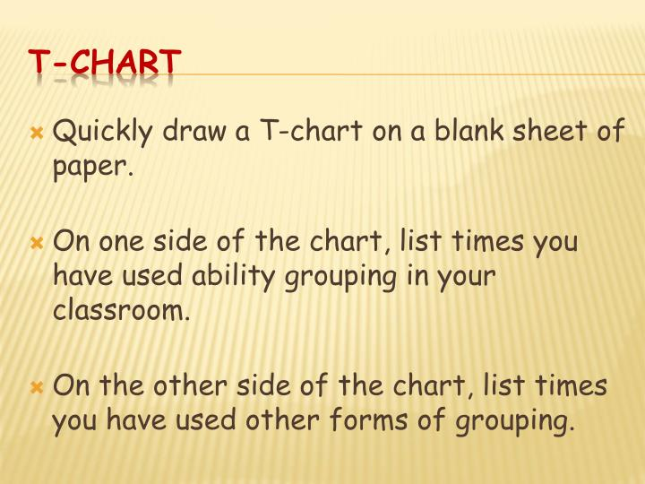 Quickly draw a T-chart on a blank sheet of paper.