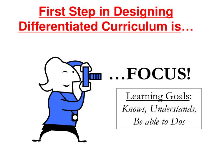 First step in designing differentiated curriculum is