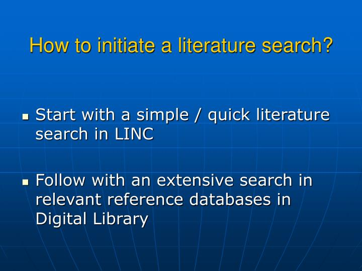 How to initiate a literature search?