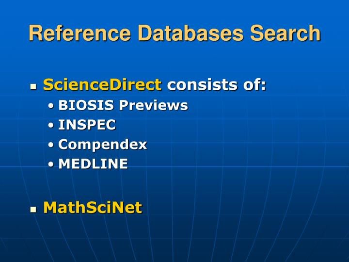 Reference Databases Search
