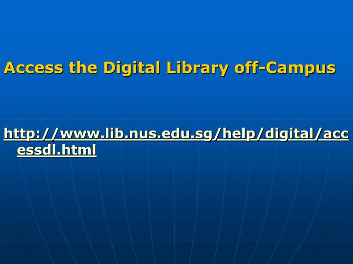 Access the Digital Library off-Campus