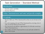 task generation standard method