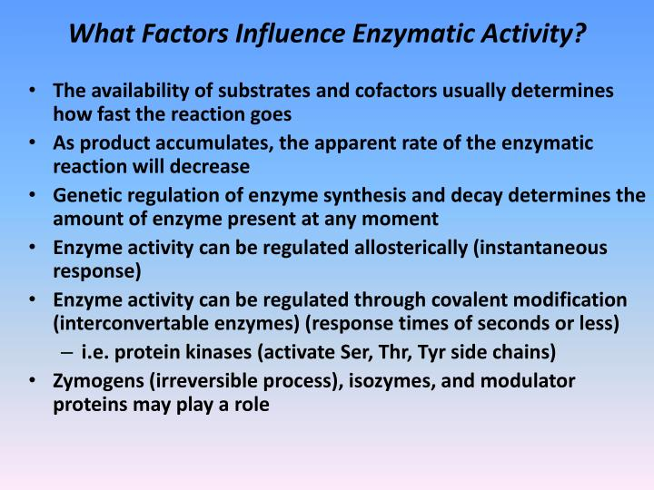 environmental factors influencing amylase enzyme activity Factors influencing extracellular enzyme activity extracellular enzyme production supplements the direct uptake of nutrients by microorganisms and is linked to nutrient availability and environmental conditions.