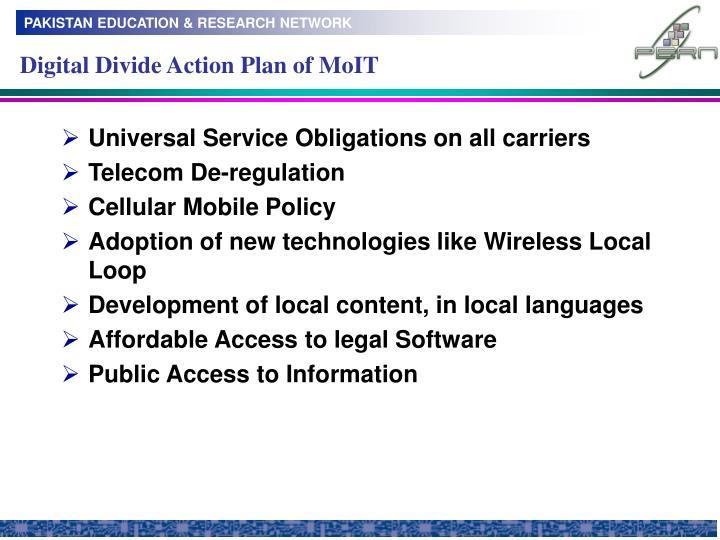 Digital Divide Action Plan of MoIT