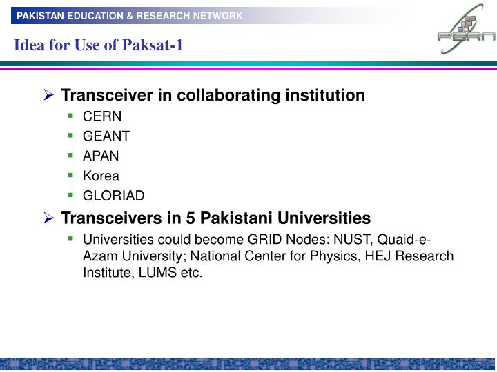 Idea for Use of Paksat-1