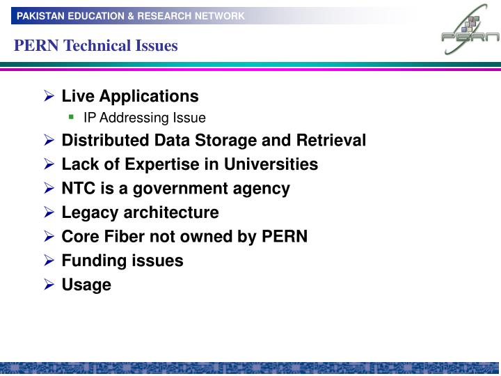 PERN Technical Issues