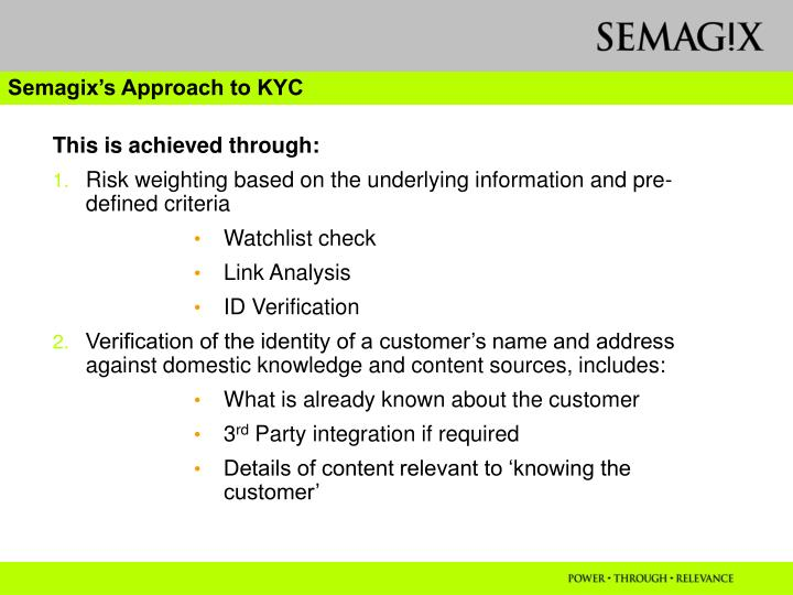 Semagix's Approach to KYC