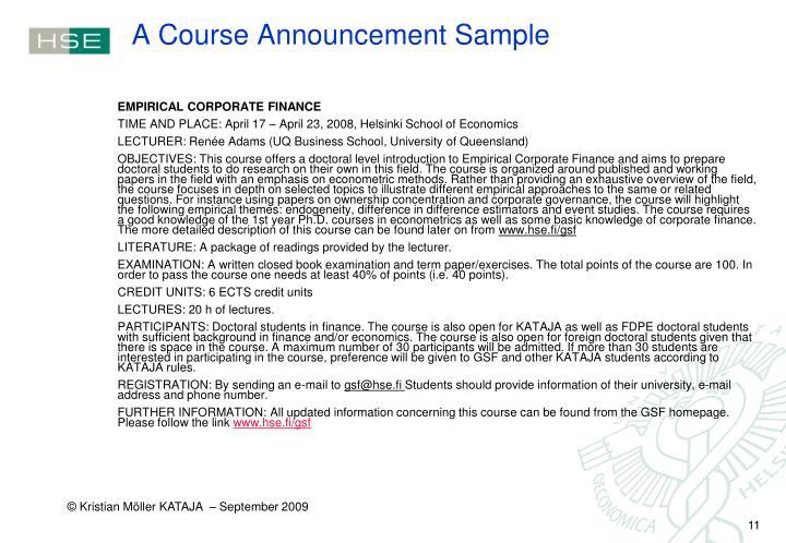 A Course Announcement Sample