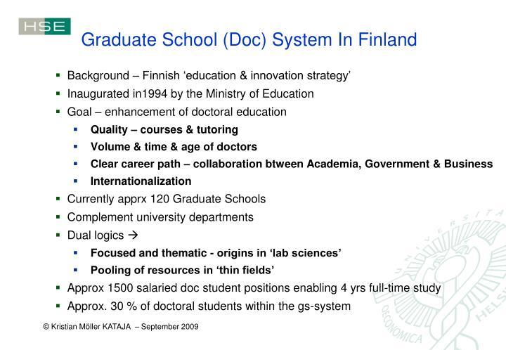 Graduate School (Doc) System In Finland