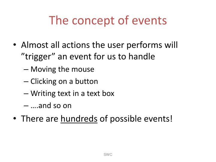 The concept of events