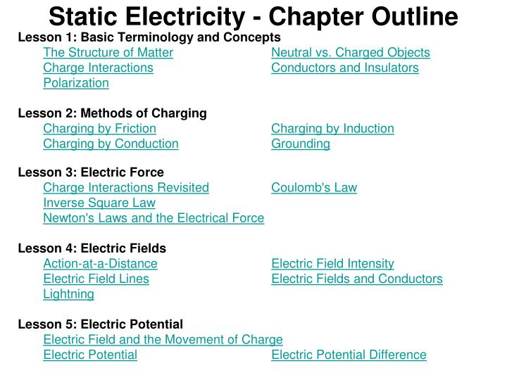 static electricity chapter outline n.