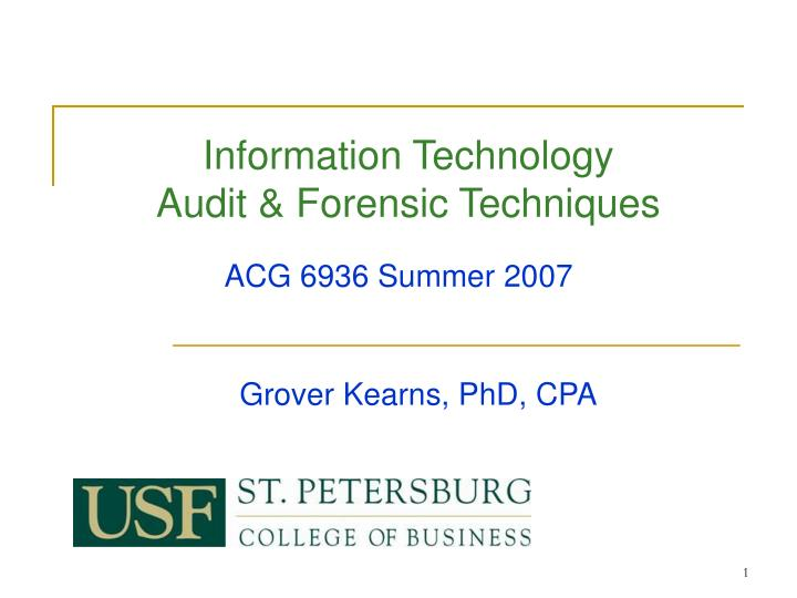 information technology audit forensic techniques n.