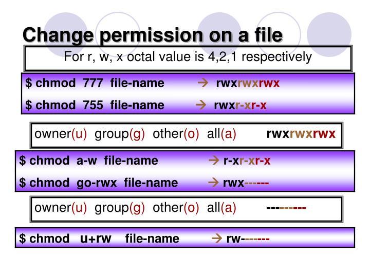 Change permission on a file