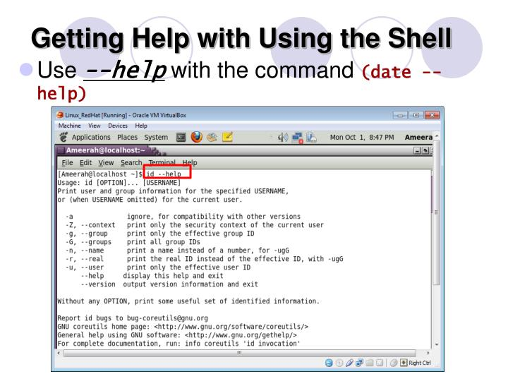 Getting Help with Using the Shell