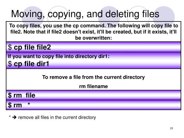 Moving, copying, and deleting files
