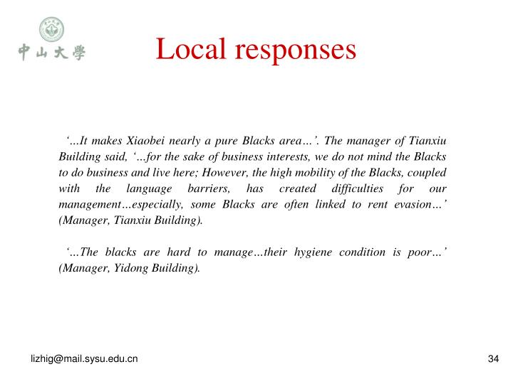 Local responses
