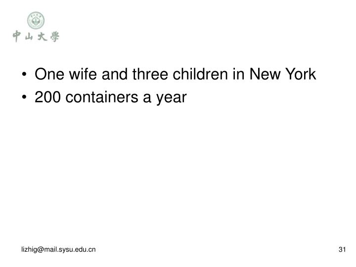 One wife and three children in New York