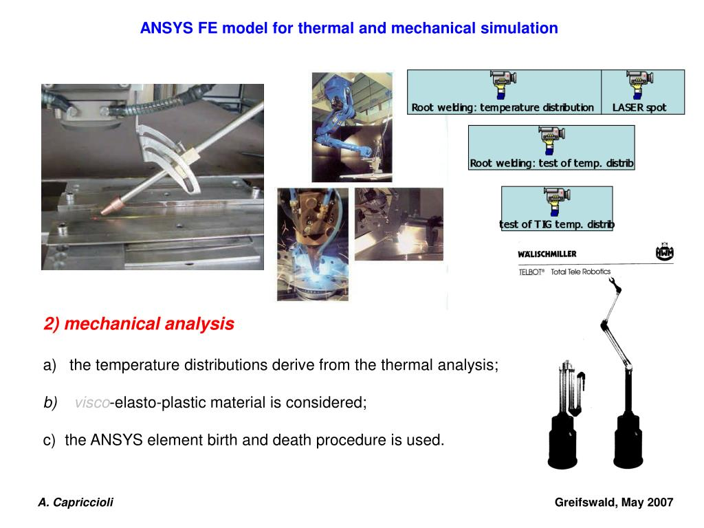 PPT - LASER and TIG welding ANSYS FE model for thermal and