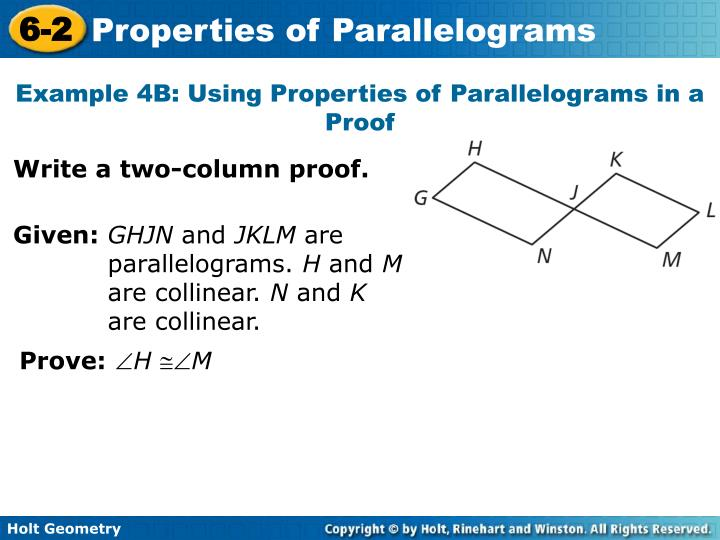 Example 4B: Using Properties of Parallelograms in a Proof