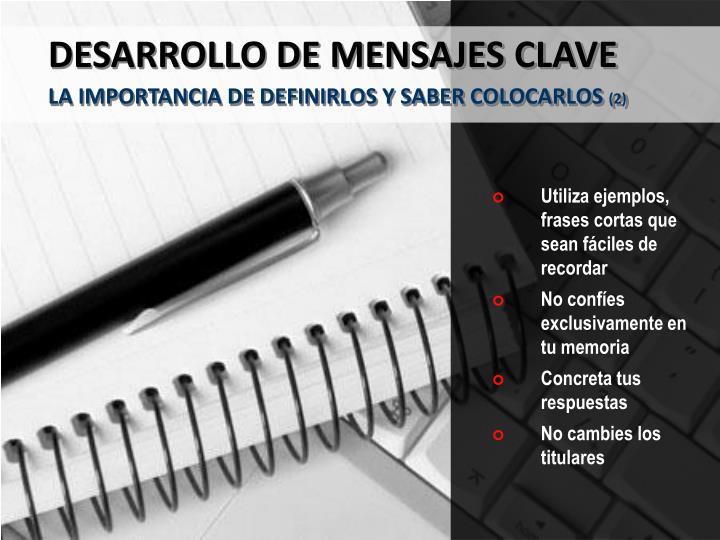 DESARROLLO DE MENSAJES CLAVE