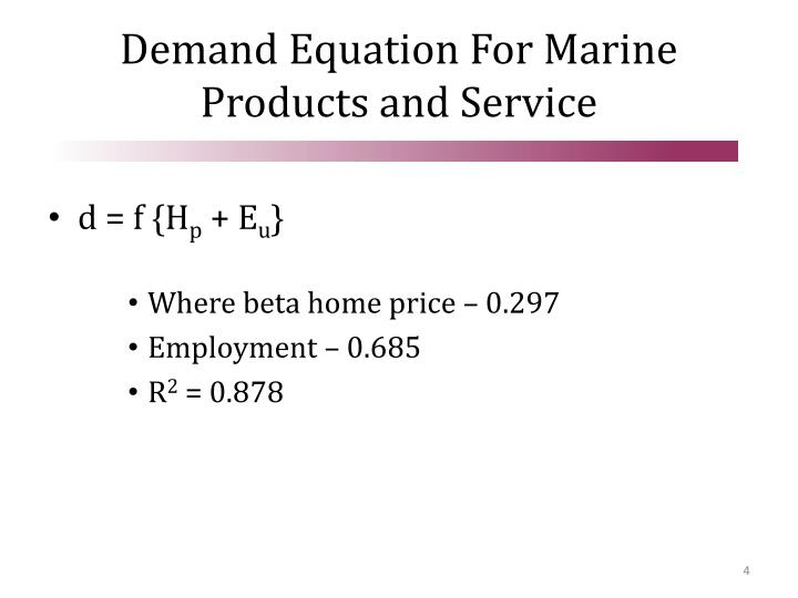 Demand Equation For Marine Products and Service