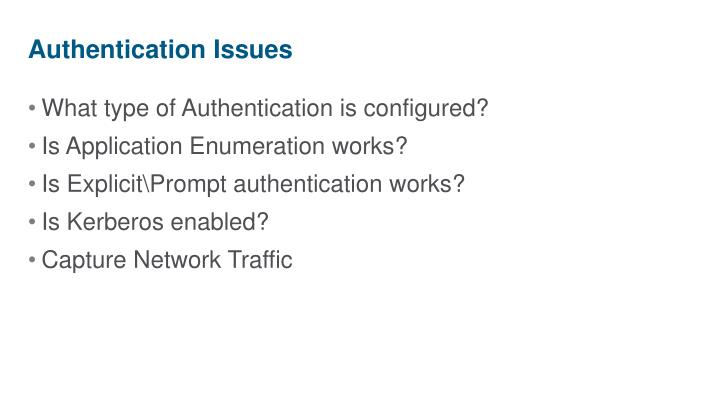 Authentication Issues