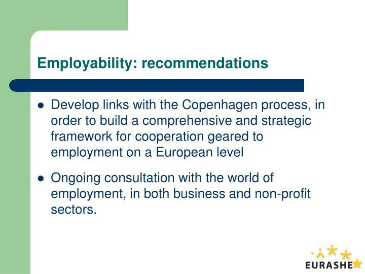 Employability: recommendations