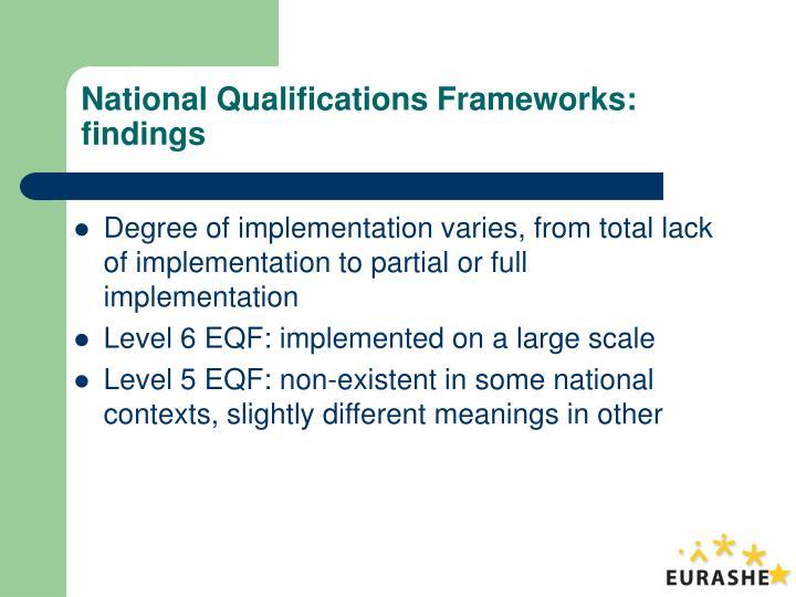 National Qualifications Frameworks: