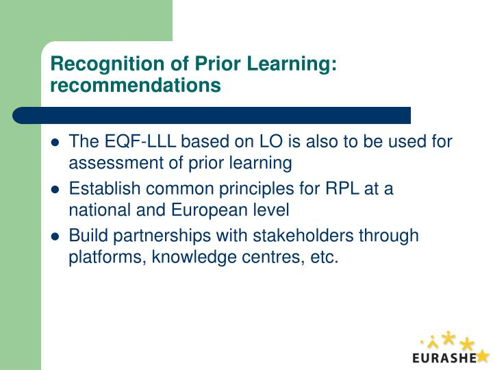 Recognition of Prior Learning: recommendations