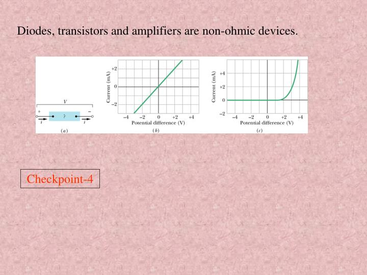 Diodes, transistors and amplifiers are non-ohmic devices.
