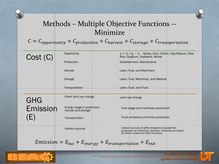 Methods – Multiple Objective Functions -- Minimize