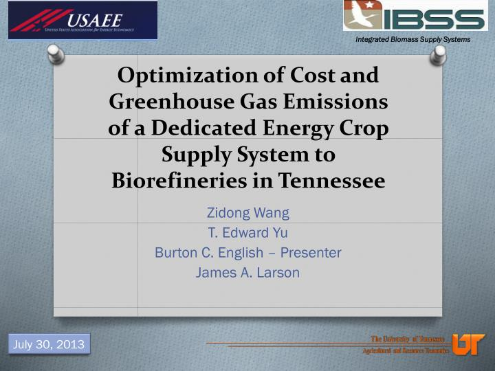 Optimization of Cost and Greenhouse Gas Emissions of a Dedicated Energy Crop Supply System to Bioref...