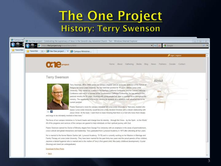 The one project history terry swenson1