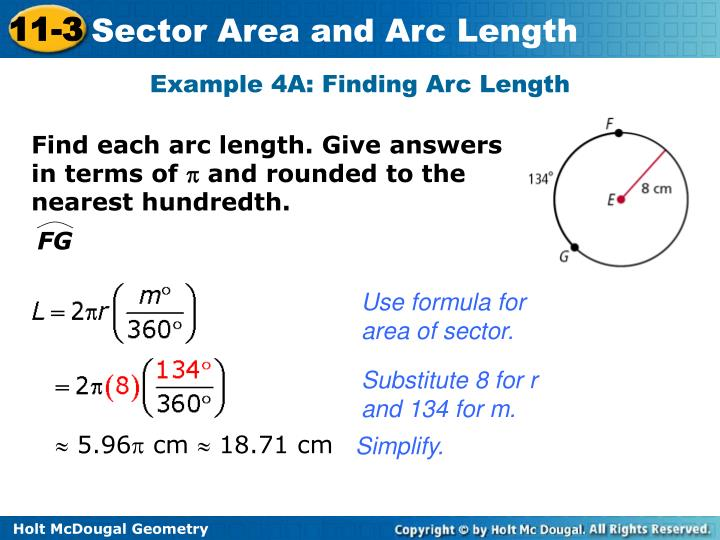 Example 4A: Finding Arc Length