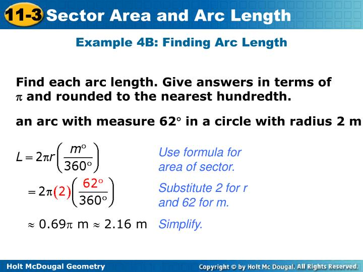 Example 4B: Finding Arc Length