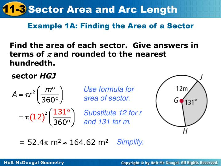Example 1A: Finding the Area of a Sector