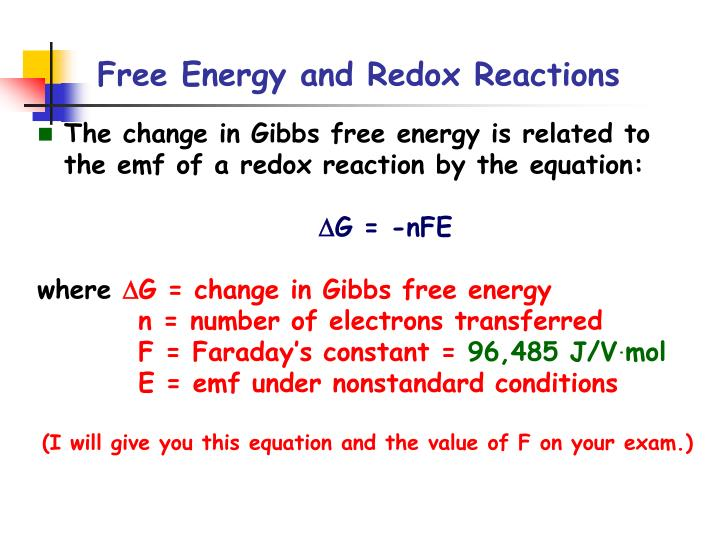 Free energy and redox reactions1