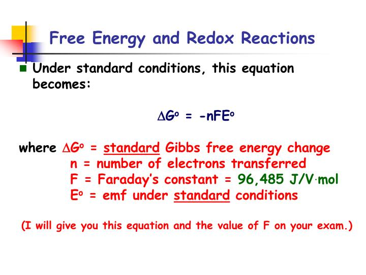 Free energy and redox reactions2