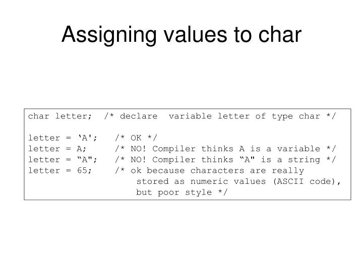 Assigning values to char