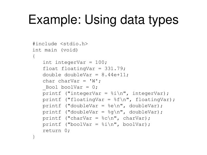 Example: Using data types
