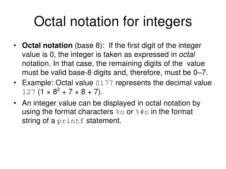 Octal notation for integers
