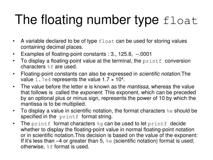 The floating number type