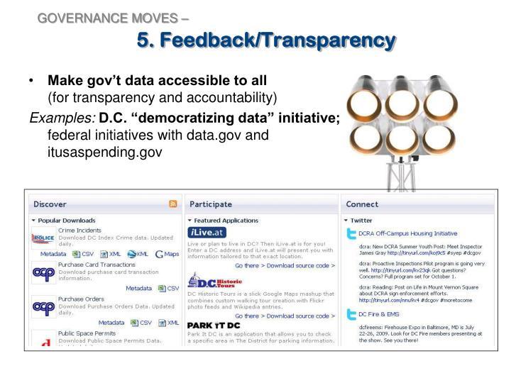 5. Feedback/Transparency