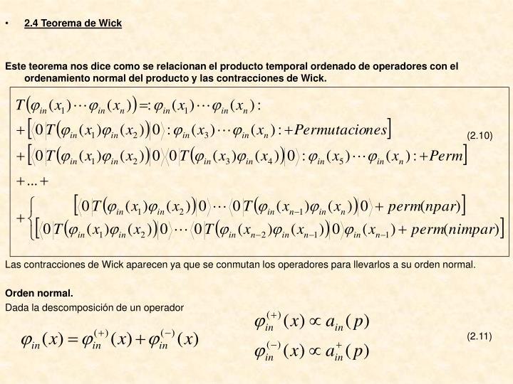 2.4 Teorema de Wick