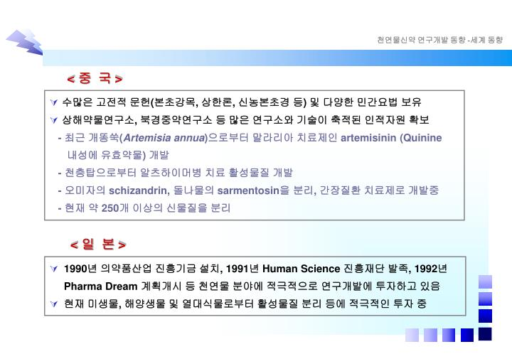 천연물신약 연구개발 동향