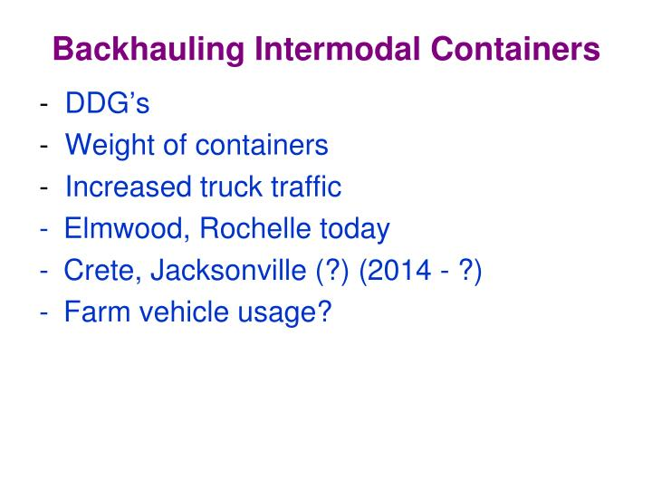 Backhauling Intermodal Containers