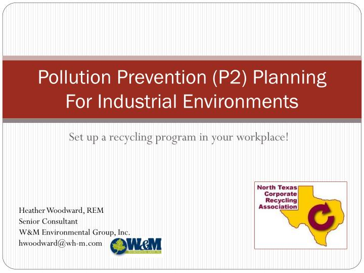 pollution prevention p2 planning for industrial environments n.