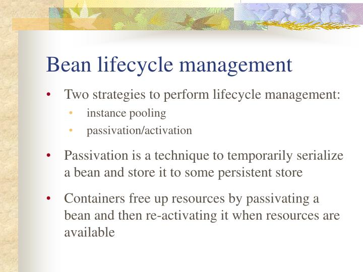 Bean lifecycle management