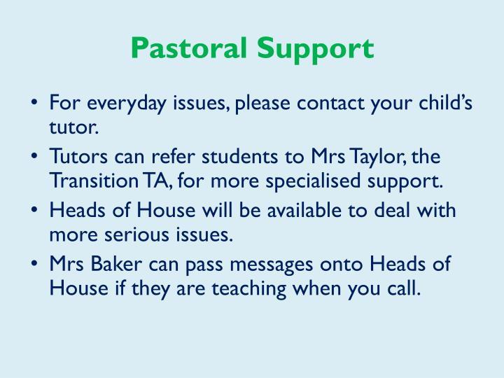 Pastoral Support